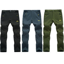 2017 New Men's Winter Trekking Pants Outdoor Waterproof WindProof Thermal Thick Trousers Hiking Camping Ski Pants 5XL VA001(China)