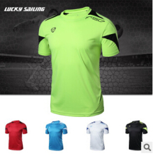 LUCKY SAILING Brand Outdoor Sports Muscle Casual Short Sleeve Workout T shirt Mens Undershirt Fitness Bodybuilding Clothing Men