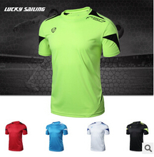 LUCKY SAILING Brand Outdoor Sports Muscle Casual Short Sleeve Workout T shirt Mens Undershirt Fitness Bodybuilding Clothing Men(China)