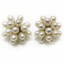 1 inches AAA 5-6mm Natural White Rice Pearl Cluster Earring(China)