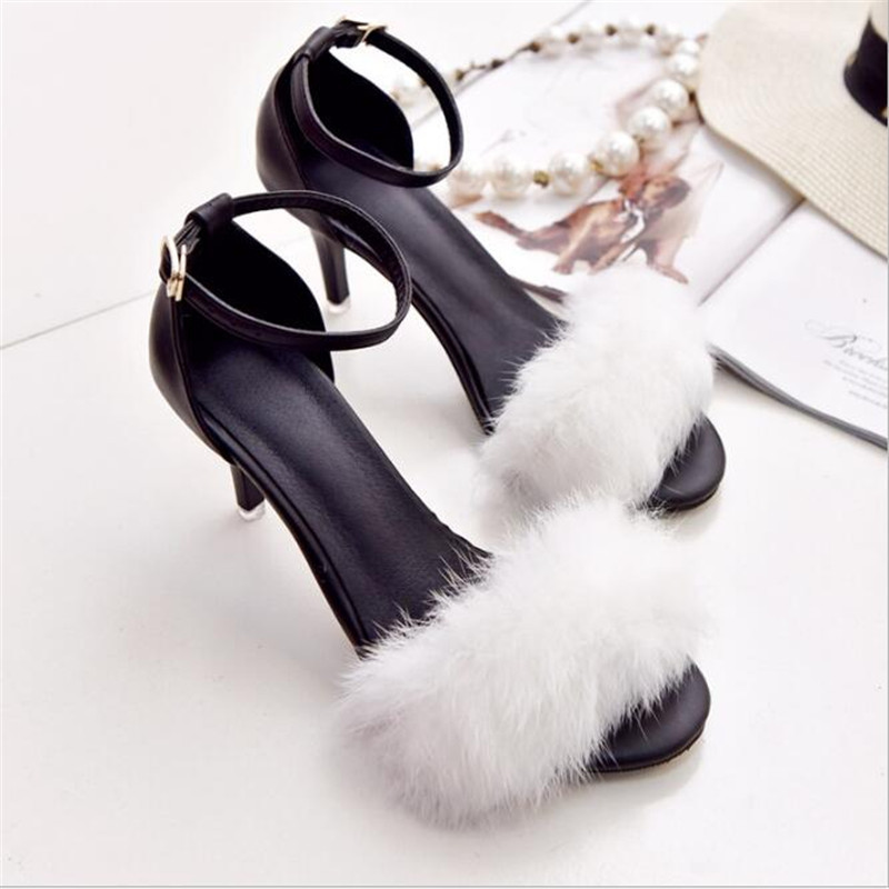 2017 fine with open-toed word buckle with plush high-heeled female sandals rabbit hair sandals .SGLL-C01<br><br>Aliexpress