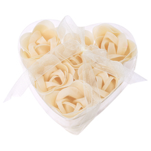 6 Pcs Bathing Shower Off White Rose Flower Bath Soap Petals w Heart Shaped Box(China)