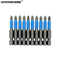"10pc 50mm PH1 PH2 PH3 PZ1 PZ2 PZ3 Magnetic Screwdriver Bit Set 1/4"" Hex Shank Anti Slip Phillips Electric Power Tool Accessories(China)"
