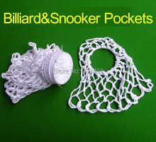 Free Shipping 6pcs Billiards Pool Snooker Table Ringed Nylon Nets Pockets Bags Cue Kit White Billiard  Accessories