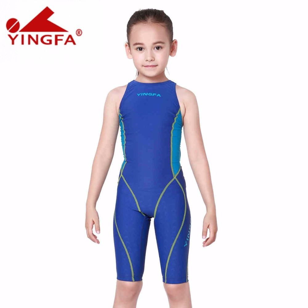 Yingfa children girls swimwear kids one piece swimsuits racing competition bathing suits girl professional swim solid child suit<br>