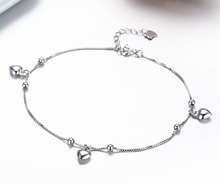 925 Sterling SIlver Box Chain Peach Heart Charms Foot Jewelry Anklet for Women Girls Leg bracelet cheville enkelbandje halhal(China)
