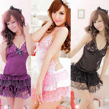Cheap Price Sexy Women Lace V-neck Teddies Halter Backless Cake Dress Sleepwear Lingerie Dress