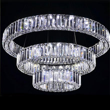 AC100-240V D20cm to D80cm three sides LED crystal pendant lights 2017 New Arrival Modern Long crystal diamond lamp Free Shipping