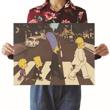 Clássico Anime Poster The Simpsons Estilo da Banda de Rock Que Atravessam A Estrada Bar Cafe Decor Cartaz de Papel Kraft 51.5x36 cm Cartaz Adesivos(China)