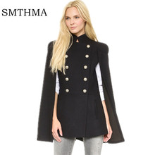 HIGH QUALITY Newest 2017 Winter Designer Coat Women's Cape Cloak Star double-breasted  Trench Outer