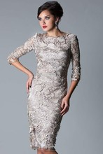New Arrivals Mother of Bride Dresses Sexy 3/4 Sleeves Lace Knee Length Evening Dresses DE09064