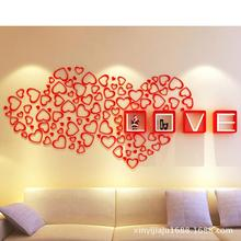 Wooden love shaped 3D three dimensional wall decoration wall art can be removed from Fashion TV Wall Art Deco(China)
