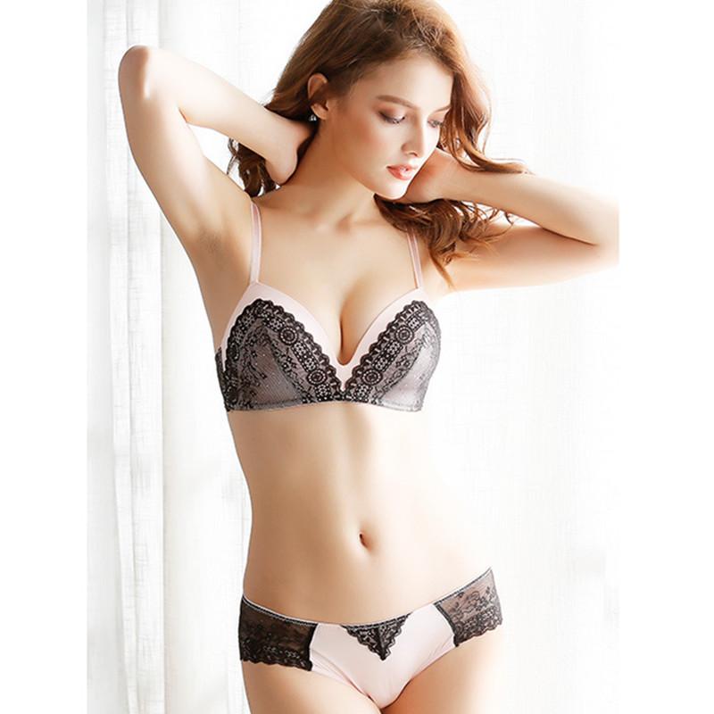 Lace Bra Set Wire Free Underwear Set Women Heart Pattern Lingerie Sets A B C 3/4 Cup Bralette Bra Sets Back Two Rows Underwear 10