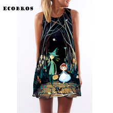 Buy ECOBROS 2017 Woman Summer Dress casual sleeveless Loose walk night print mini dresses plus size woman clothing dress for $7.99 in AliExpress store