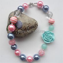 Kids Chunky Acrylic Beads Bubblegum Necklace For Lovely Girls Blue Rose Flower Pendants Necklace Free Shipment(China)
