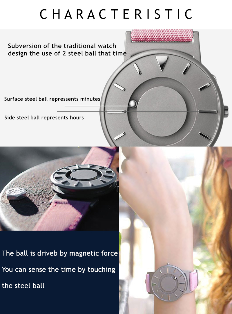 EUTOUR Women Watches Magnetic Ball Pointer Creative Ladies Watch Simple Fashion Pink Canvas Strap Wristwatches For Blind Person (4)