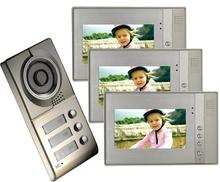 CUSAM 7'' Color TFT Display Monitors 4-Wire Video Door Phone Two-way Intercom System 1 Doorbell Camera For 3 Separate Apartments(China)