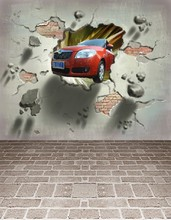 Fundo Car Through The Wall Into The Room 3D Baby Photography Backdrop Background Lk 045(China)