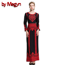 by Megyn designer maxi dresses high quality women long sleeve crystal beading print vintage evening party long dresses vestidos(China)