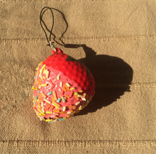 New Cute pink strawberry squishy charm / PU mobile phone strap / Retail(China)