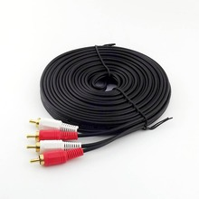 10pcs 33FT 10m Twin Phono 2 RCA Cable Audio Lead Gold Two Male TV Projector 2 RCA Cord