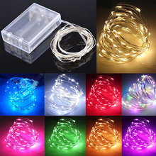 led string lights 2M/3M/5M/10M 20/30/50/100led Battery outdoor multi copper wire christmas festival wedding party decoration