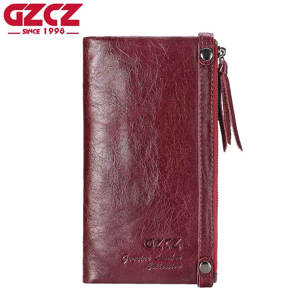GZCZ Genuine Leather Long Women Wallet Female Card Holder Walet Coin Purse and Handy Vallet Portomonee Ladies Clutch Card Holder<br>