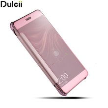 Dulcii For Huawei P10 Lite Cover PC Mirrorlike Surface Window & PU Leather Smart Wake Up/Sleep Flip Casing Shell