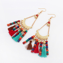 Hot Indian Style Beads Woolen Long Tassels Drop Dangle Earrings Vintage Ethnic Summer Jewelry exaggerated Gift Women Bohemia(China)