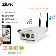 ZILNK 4G 3G Sim Card Wireless IP Camera Outdoor Bullet Support 128G SD Card Video Record 720P HD Onvif P2P Network