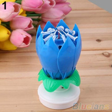 NEW Romantic Musical Lotus Flower Rotating Happy Birthday Party Gift Candle Lights Store 243