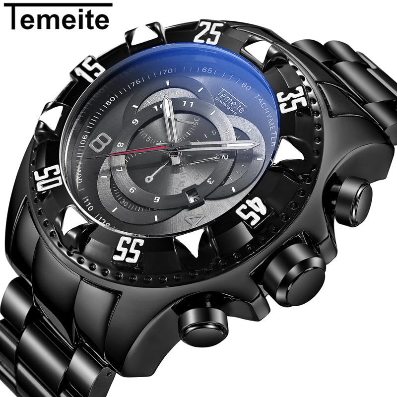 New TEMEITE Watch Men Luxury Brand Full Steel Business Quartz Watch Men Casual Quartz-watch Relogio Masculino CLock Male Japan<br>