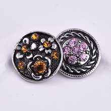 Mix styles 20pcs/lot wholesale Flower  Rhinestone Snap Buttons Alloy Diy Jewelry fit  Snap Necklaces/Bracelets free shipping