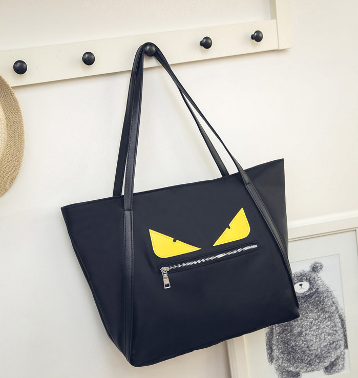 Brand Designer Canvas Evil Monster Eyes Shopping Bag Zipper Large Capacity Tote ECO Single Shoulder Waterproof Nylon Bag Z-1<br><br>Aliexpress