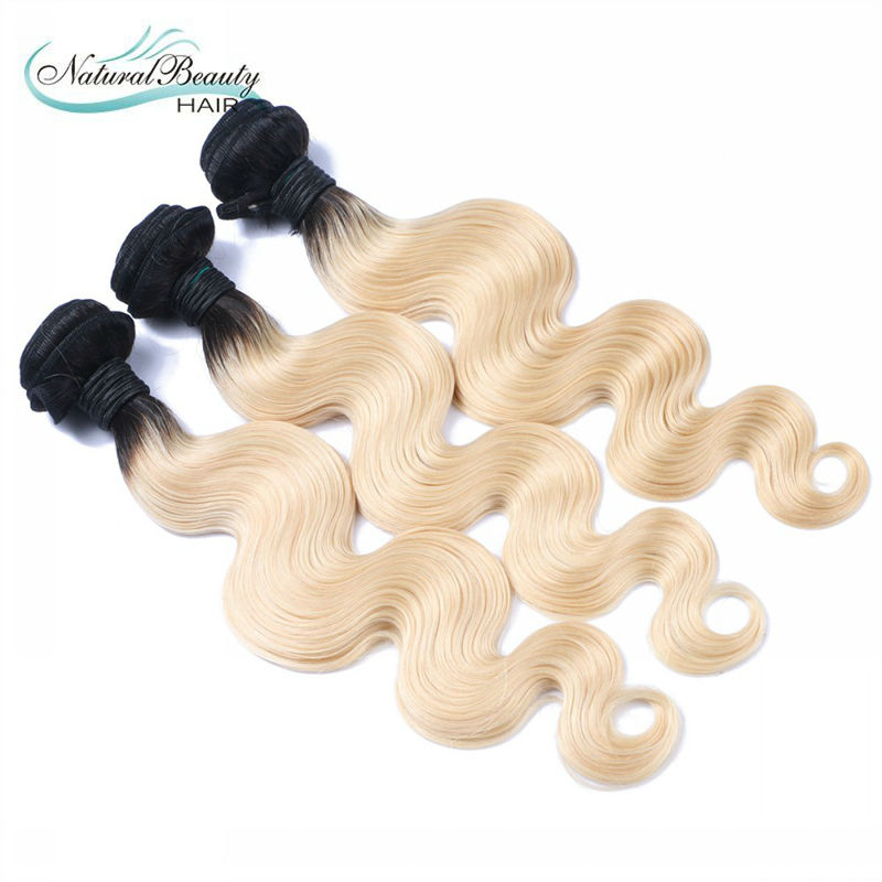 613 blonde virgin hair dark roots ombre blonde brazilian hair 3pcs/lot ombre hair extension free shipping<br><br>Aliexpress