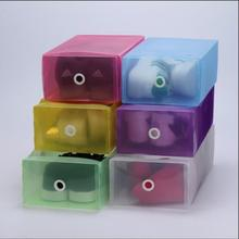 5cs/ lot Brand New Colorful Plastic Shoe Box Transparent Crystal Storage Shoebox 5 Colors for Household Home Use 30*18.5*10cm(China)
