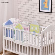 6 Pcs /Sets Cotton Baby Bed Bumper China Embroidery Decals Cartoon Small House Shape Baby Cirb Bumpers Baby Bedding
