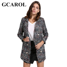 GCAROL Euro Style OL Autumn Winter Pearl Buttons Blazer High Quality Notched Collar Long Tweed Jacket Open Stitch Outwear(China)