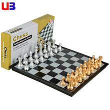 UB U3 international chess magnetic gold silver chesspiece folding chessboard adult children gift(China)