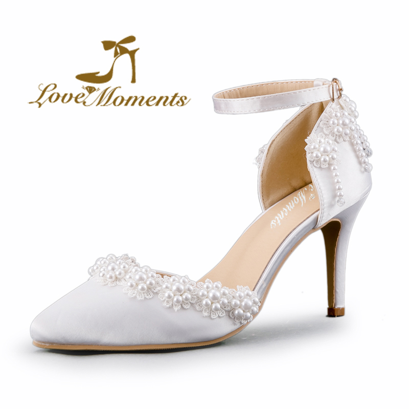 Sandals High Heels Women Pumps Sexy Style And Pointed Toe buckle strap white lace pearl tassel flower wedding shoes Summer<br><br>Aliexpress