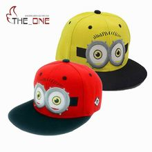 2016 Baby Kids Baseball Caps Cartoon Minions Boys Girls Snapback Adjustable Cap Hats Children Flat Hip Hop Cap T025(China)