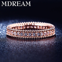 Wholesale rings Rose Gold Color rings with cubic zirconia stone for wedding women jewelry Size 6 7 8 LSR197(China)
