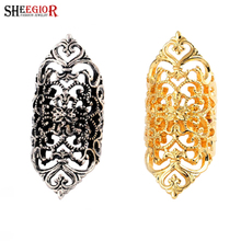 SHEEGIOR Bohemian Vintage Long Rings for Women Lovely Gold/Silver color Hollow Flower Mens Ring Fashion Jewelry Accessories Gift