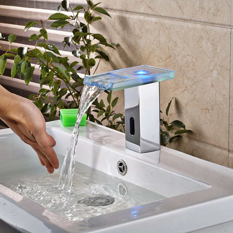 LED Automatic inflared Sensor Faucet for Bathroom Sink water saving Free touchless Inductive electric Water Tap mixer<br><br>Aliexpress