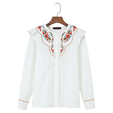 New Autumn and winter folk style embroidery agaric long sleeved shirt cotton shirt jacket casual all-match primer E0943(China)