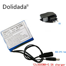 Dolidada 12 V 3000 mAh Li ion rechargeable battery and charger cctv camera