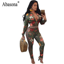 Abasona Vintage Printed Jumpsuits Women Rompers Autumn Long Sleeve Front Zipper Two Piece Set Sexy Evening Party Overalls Female