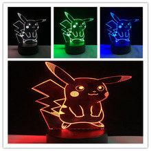 Hot Pokemon Go Action Figure 3D Atmosphere Illusion Night Light Pikachu Bedroom Kids Gift Creative 3D illusion Lamp Free Shippng(China)