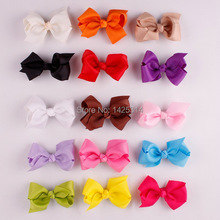 "3.15""Colorful Bow with hair clip Ribbon Woven ribbon bowknot Children Beak hairpin Girls Rainbow color hair accessries 30pcs(China)"