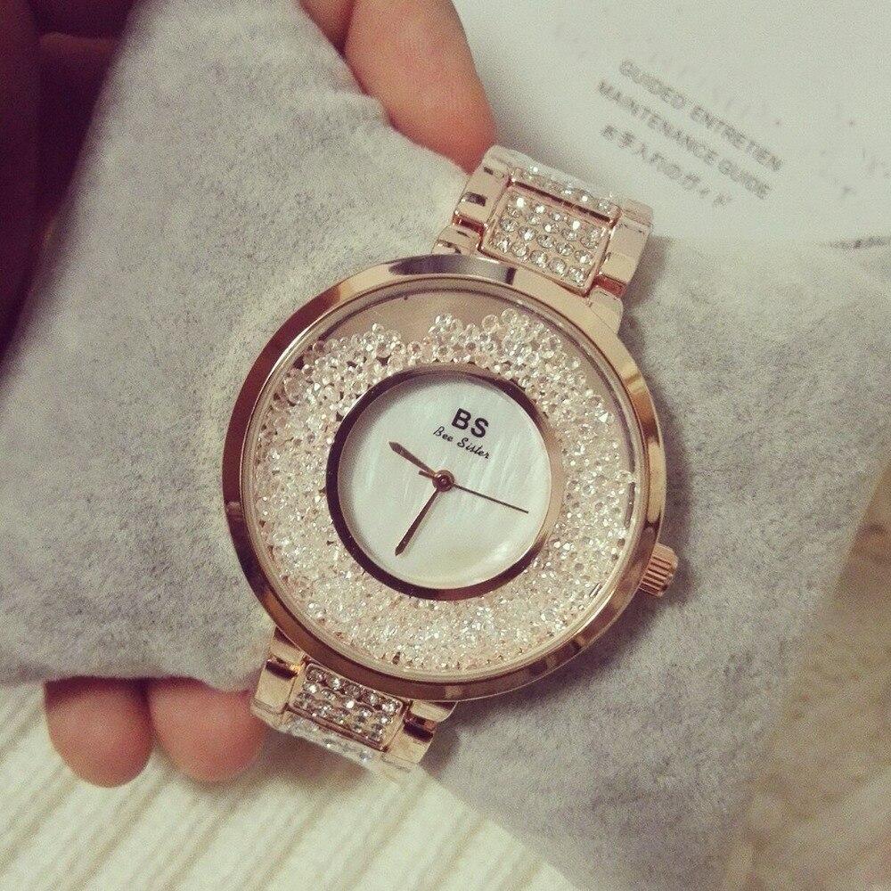 2017 Arrival Famous BS brand Full Crytal Women Stylish Watch Lady Luxury Dress Watch  Rhinestone Bangle Bracelet Free shipping<br>